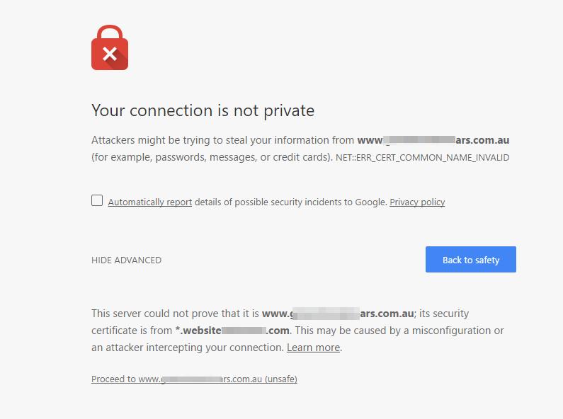 błąd SSL ERR_CERT_COMMON_NAME_INVALID
