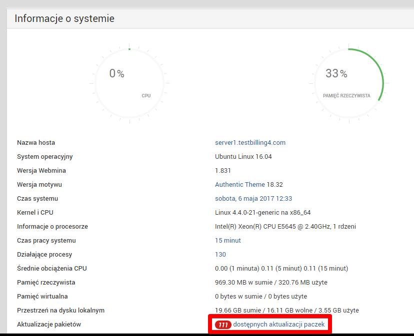 Aktualizacja paczek na Ubuntu poprzez Webmin