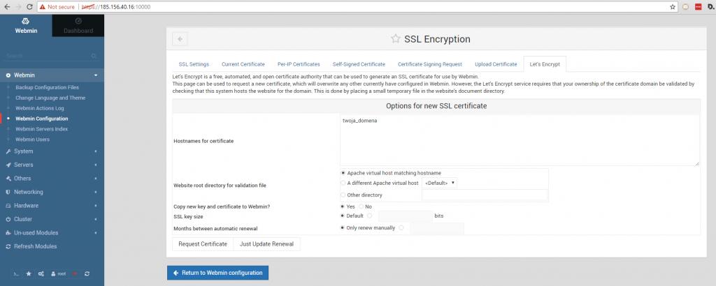 Konfiguracja SSL w Webmin (Ubuntu Linux 16.04)
