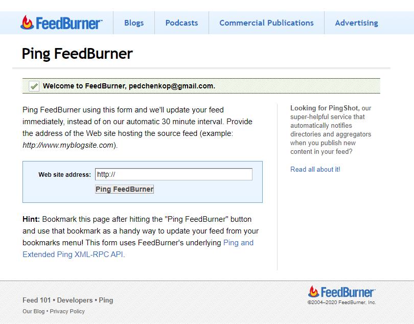 FeedBurner - Ping FeedBurner