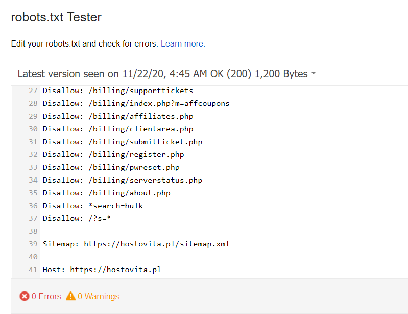Search Console - robots.txt Tester