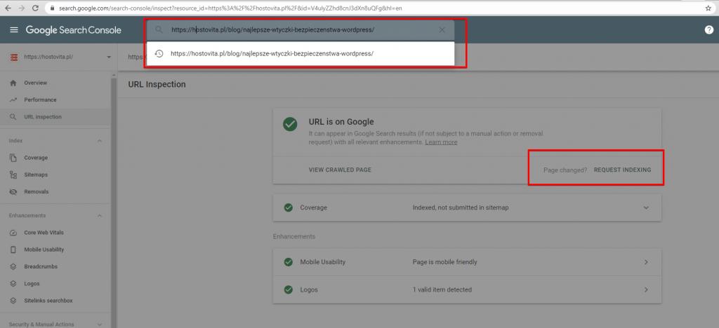 URL Inspection - Google