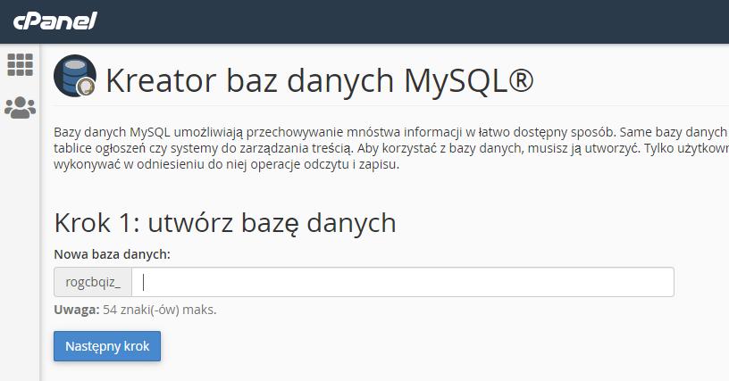 cPanel - Kreator baz danych MySQL